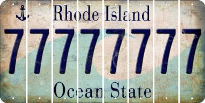 Rhode Island 7 Cut License Plate Strips (Set of 8) LPS-RI1-034
