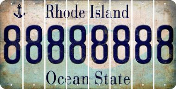 Rhode Island 8 Cut License Plate Strips (Set of 8) LPS-RI1-035