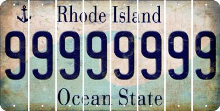 Rhode Island 9 Cut License Plate Strips (Set of 8) LPS-RI1-036