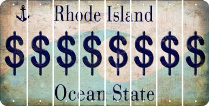 Rhode Island DOLLAR SIGN Cut License Plate Strips (Set of 8) LPS-RI1-040