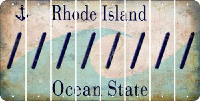 Rhode Island FORWARD SLASH Cut License Plate Strips (Set of 8) LPS-RI1-042