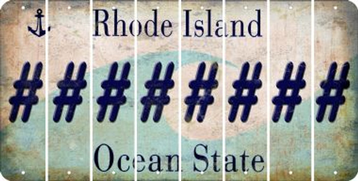Rhode Island HASHTAG Cut License Plate Strips (Set of 8) LPS-RI1-043