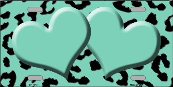 Mint Black Cheetah With Mint Center Hearts Wholesale Metal Novelty License Plate LP-4543