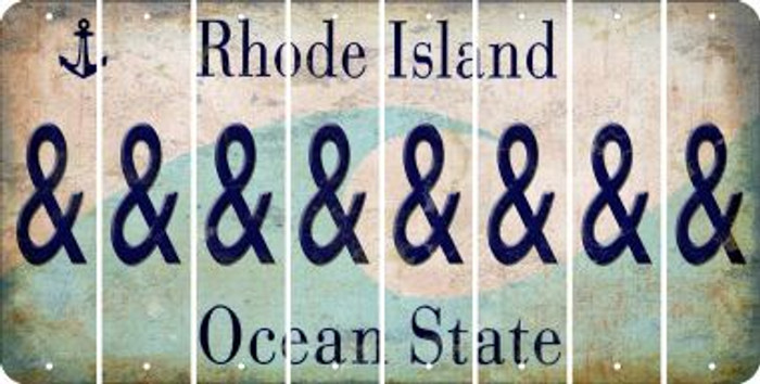 Rhode Island AMPERSAND Cut License Plate Strips (Set of 8) LPS-RI1-049