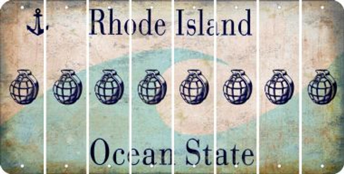 Rhode Island HAND GRENADE Cut License Plate Strips (Set of 8) LPS-RI1-050
