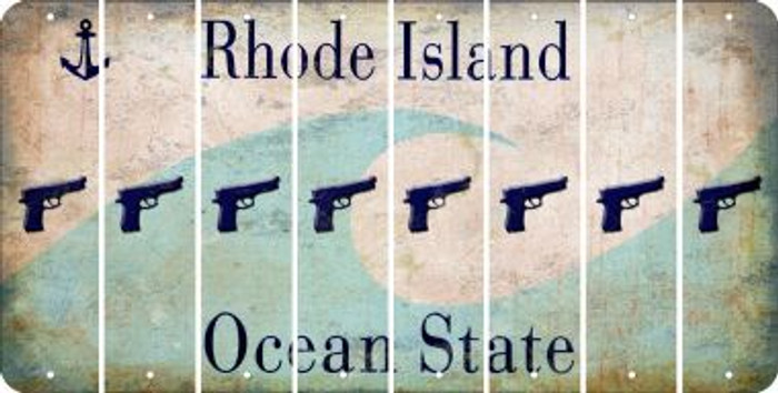 Rhode Island HANDGUN Cut License Plate Strips (Set of 8) LPS-RI1-051