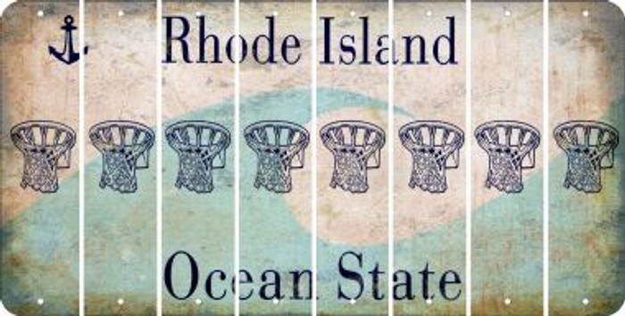 Rhode Island BASKETBALL HOOP Cut License Plate Strips (Set of 8) LPS-RI1-058