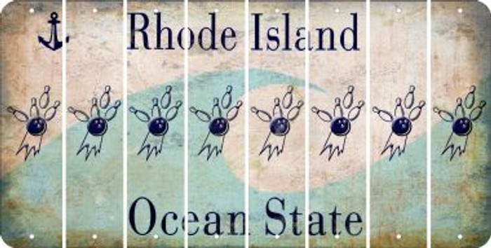 Rhode Island BOWLING Cut License Plate Strips (Set of 8) LPS-RI1-059