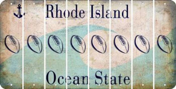 Rhode Island FOOTBALL Cut License Plate Strips (Set of 8) LPS-RI1-060