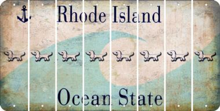 Rhode Island DOG Cut License Plate Strips (Set of 8) LPS-RI1-073