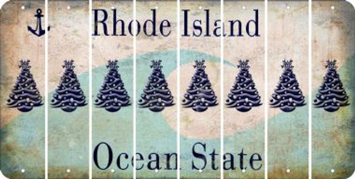 Rhode Island CHRISTMAS TREE Cut License Plate Strips (Set of 8) LPS-RI1-077