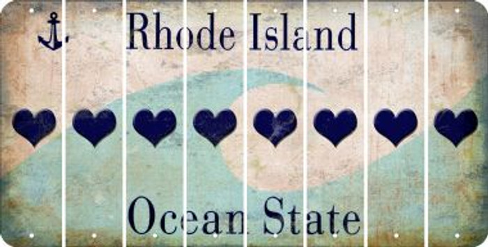 Rhode Island HEART Cut License Plate Strips (Set of 8) LPS-RI1-081