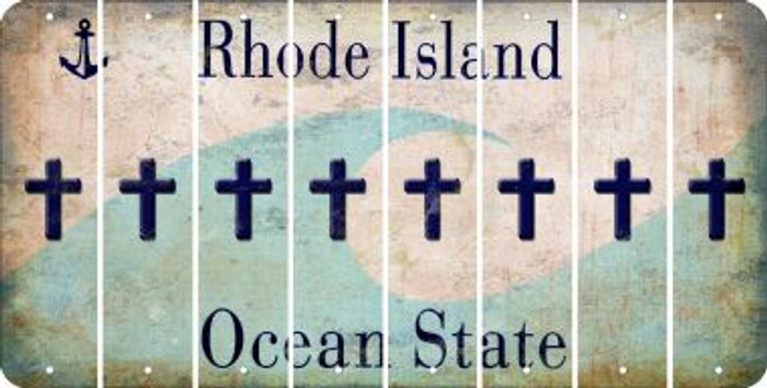 Rhode Island CROSS Cut License Plate Strips (Set of 8) LPS-RI1-083