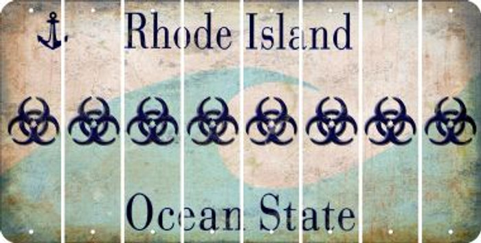 Rhode Island BIO HAZARD Cut License Plate Strips (Set of 8) LPS-RI1-084
