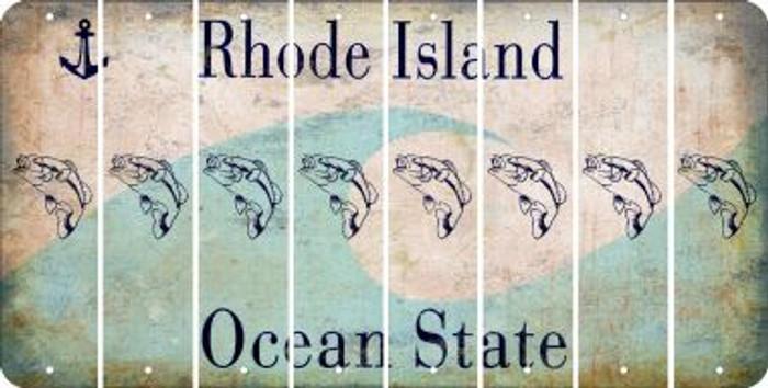 Rhode Island FISH Cut License Plate Strips (Set of 8) LPS-RI1-086