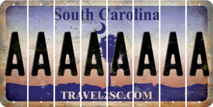 South Carolina A Cut License Plate Strips (Set of 8) LPS-SC1-001