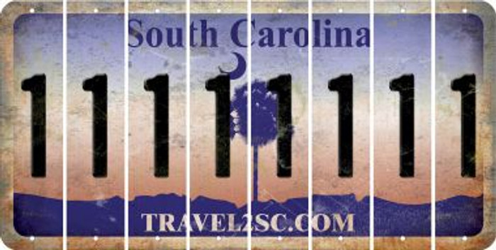 South Carolina 1 Cut License Plate Strips (Set of 8) LPS-SC1-028