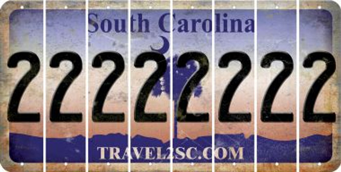 South Carolina 2 Cut License Plate Strips (Set of 8) LPS-SC1-029