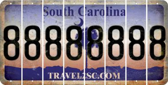 South Carolina 8 Cut License Plate Strips (Set of 8) LPS-SC1-035