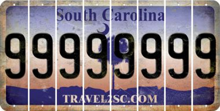 South Carolina 9 Cut License Plate Strips (Set of 8) LPS-SC1-036