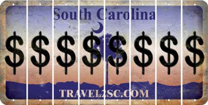 South Carolina DOLLAR SIGN Cut License Plate Strips (Set of 8) LPS-SC1-040