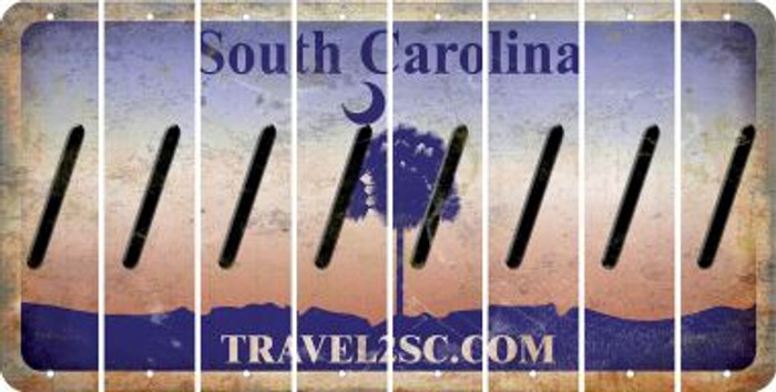 South Carolina FORWARD SLASH Cut License Plate Strips (Set of 8) LPS-SC1-042