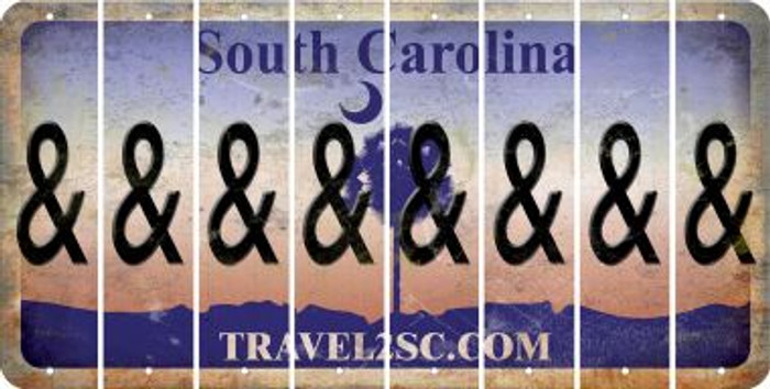 South Carolina AMPERSAND Cut License Plate Strips (Set of 8) LPS-SC1-049