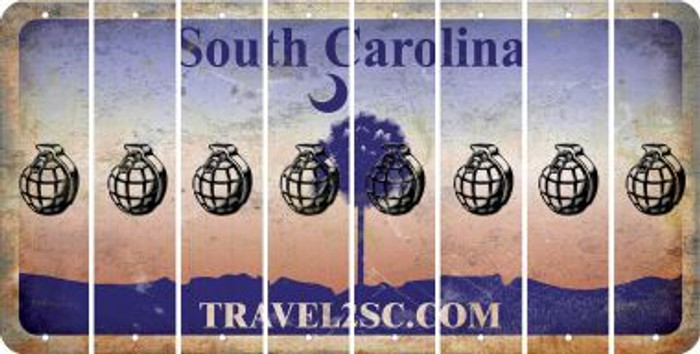 South Carolina HAND GRENADE Cut License Plate Strips (Set of 8) LPS-SC1-050