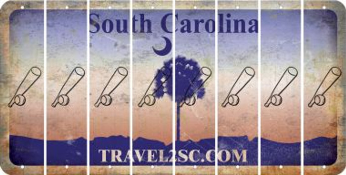 South Carolina BASEBALL WITH BAT Cut License Plate Strips (Set of 8) LPS-SC1-057