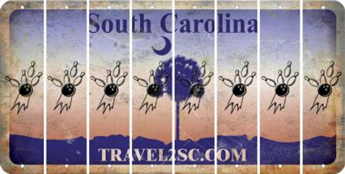 South Carolina BOWLING Cut License Plate Strips (Set of 8) LPS-SC1-059