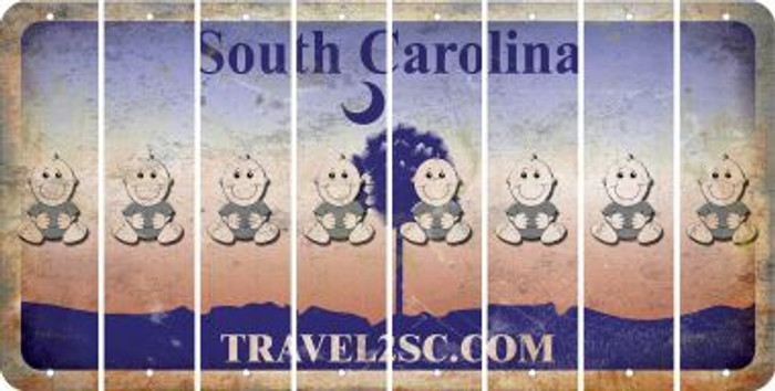 South Carolina BABY BOY Cut License Plate Strips (Set of 8) LPS-SC1-066