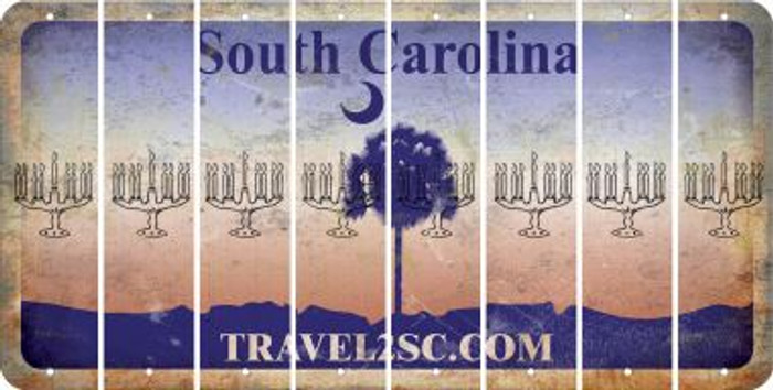 South Carolina MENORAH Cut License Plate Strips (Set of 8) LPS-SC1-080