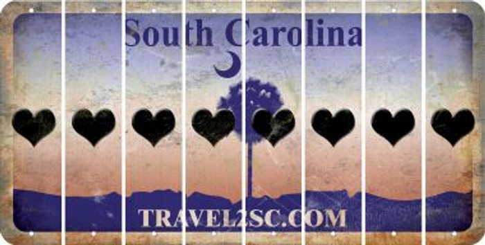 South Carolina HEART Cut License Plate Strips (Set of 8) LPS-SC1-081
