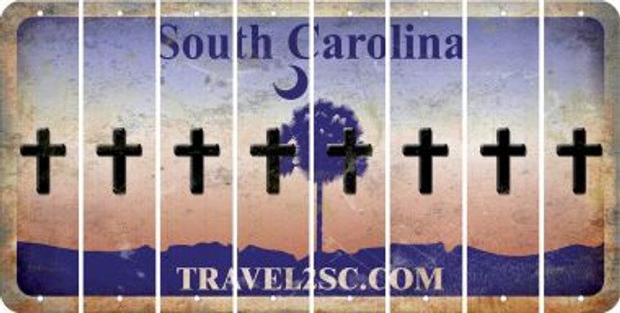 South Carolina CROSS Cut License Plate Strips (Set of 8) LPS-SC1-083