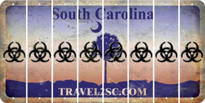 South Carolina BIO HAZARD Cut License Plate Strips (Set of 8) LPS-SC1-084