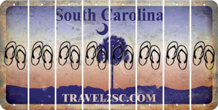South Carolina FLIP FLOPS Cut License Plate Strips (Set of 8) LPS-SC1-085