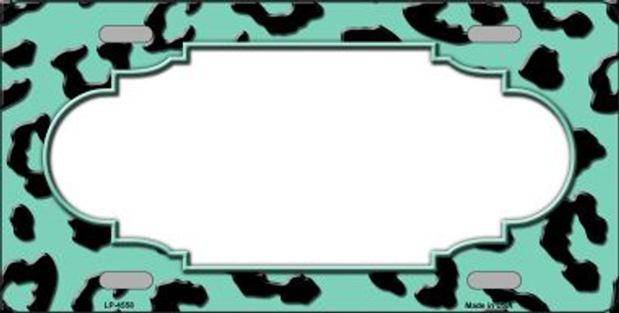 Mint Black Cheetah Print With Scallop Wholesale Metal Novelty License Plate LP-4558