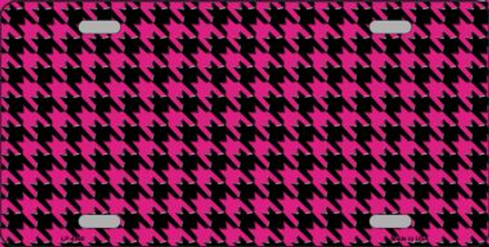 Pink Black Houndstooth Wholesale Metal Novelty License Plate LP-4560