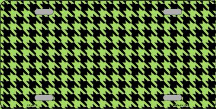 Lime Green Black Houndstooth Wholesale Metal Novelty License Plate LP-4570