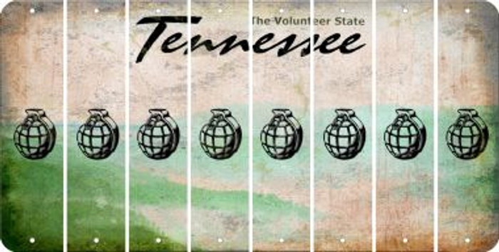 Tennessee HAND GRENADE Cut License Plate Strips (Set of 8) LPS-TN1-050