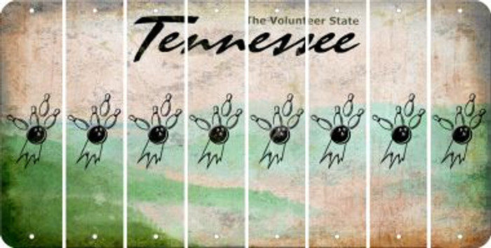 Tennessee BOWLING Cut License Plate Strips (Set of 8) LPS-TN1-059