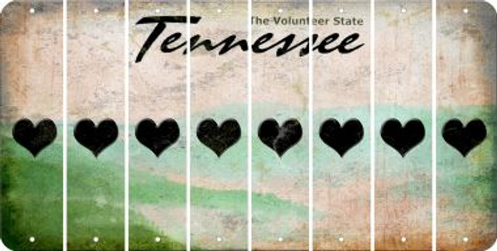 Tennessee HEART Cut License Plate Strips (Set of 8) LPS-TN1-081