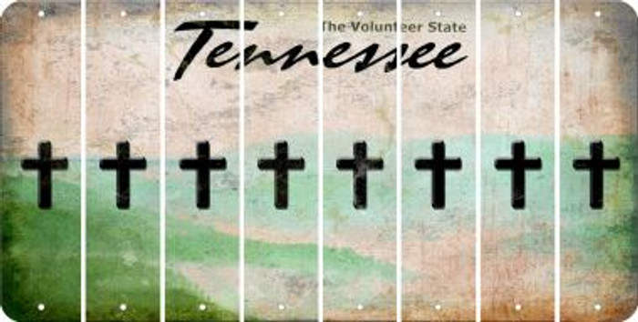 Tennessee CROSS Cut License Plate Strips (Set of 8) LPS-TN1-083