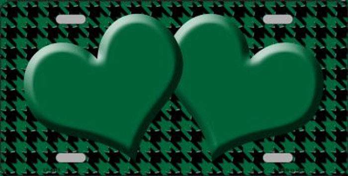 Green Black Houndstooth With Green Center Hearts Wholesale Metal Novelty License Plate LP-4575