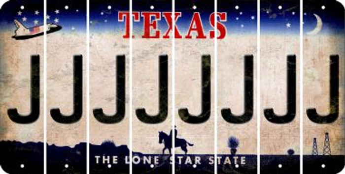 Texas J Cut License Plate Strips (Set of 8) LPS-TX1-010