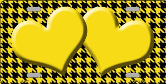 Yellow Black Houndstooth With Yellow Center Hearts Wholesale Metal Novelty License Plate LP-4577