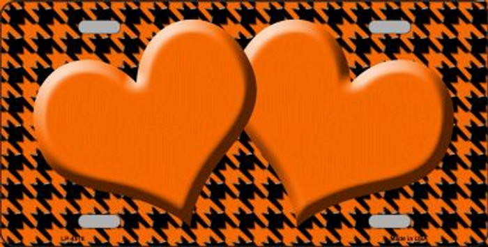 Orange Black Houndstooth With Orange Center Hearts Wholesale Metal Novelty License Plate LP-4578