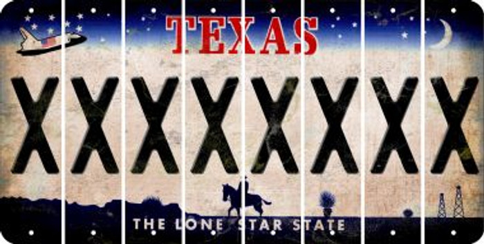 Texas X Cut License Plate Strips (Set of 8) LPS-TX1-024