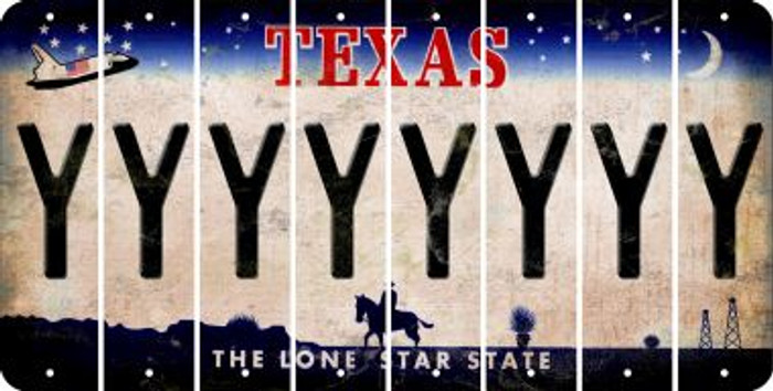Texas Y Cut License Plate Strips (Set of 8) LPS-TX1-025