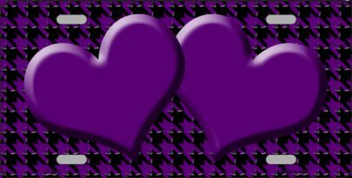 Purple Black Houndstooth With Purple Center Hearts Wholesale Metal Novelty License Plate LP-4581